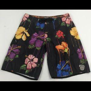 LRG board shorts Men's 36 black floral